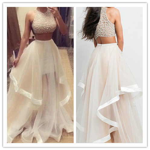Two Pieces Real Made White Beading Evening Dresses #T07