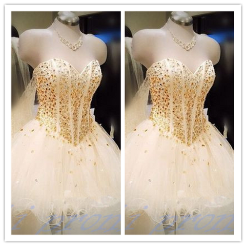 White Tulle Princess Party With Gold Beading #H015