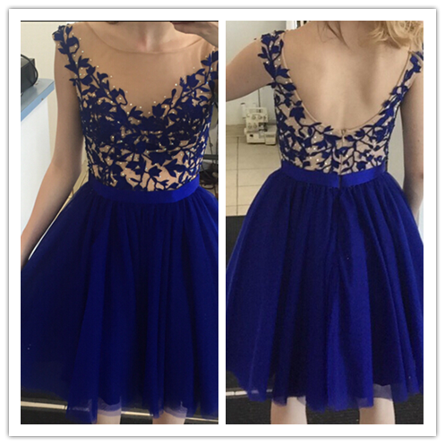 Tulle Royal Blue Short Prom Dress #H009