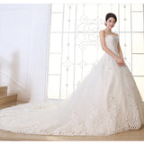 Plus Size Long Train Ivory Color Slim Royal Wedding Dress #W014