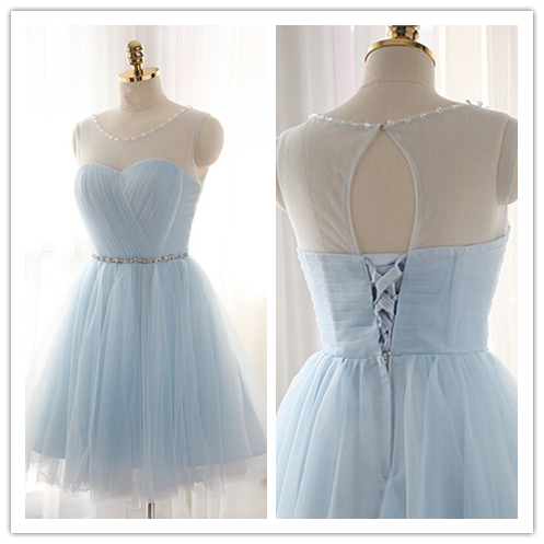 Light Sky Blue Fitted Silver Beading Sparkly Cocktail Dress #H106