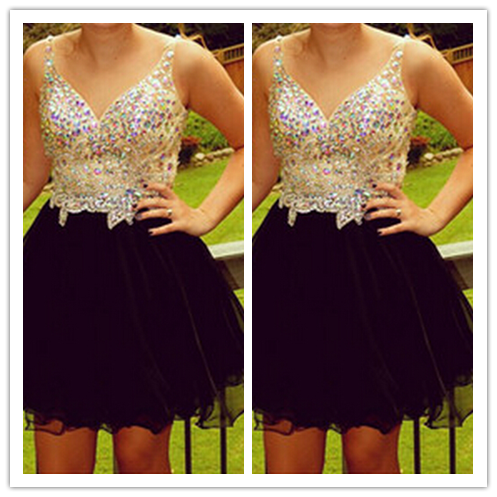 Tulle 2016 Black Short Beautiful Country Homecoming #H071