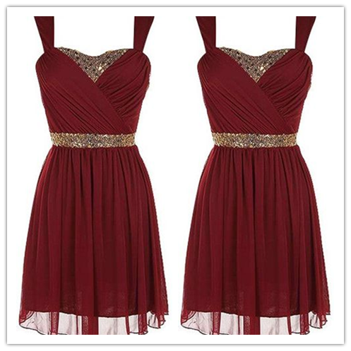 Burgundy Chiffon Beading Short Prom Dress #H080