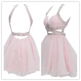 Pearl Pink Backless Chiffon Homecoming Dress #H114