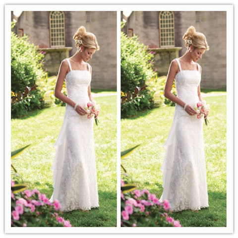 Long Spaghetti Straps Lace Wedding Dresses #W028