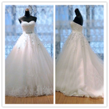 Gorgeous Backless White Lace Strapless Weddings Dresses #W05