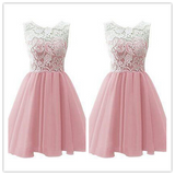White Lace Pink Sweet 16 Dress Homecoming Dress #H003