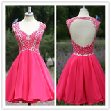 Red Chiffon Short Open Back Sexy Homecomings Dress #H091