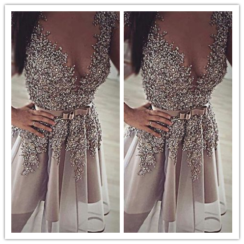 Short Prom Gown Grey Backless Sequined Prom Dresses #H013