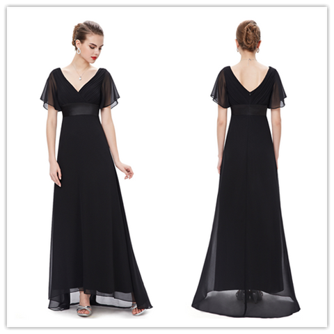 Black V Neck Chiffon Long Bridesmaid Dress With Flutter Sleeves #B043