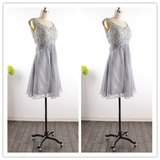 Modest Silver Gray Grey Tulle Party Dress #H010