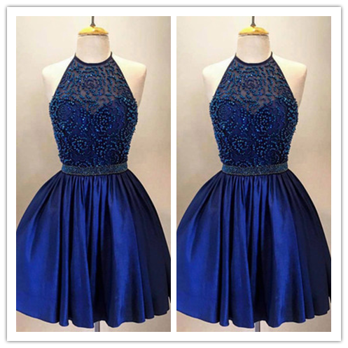 Halter High Neck  A-line Royal Blue Taffeta Beaded Bodice Short Prom Dress #H012