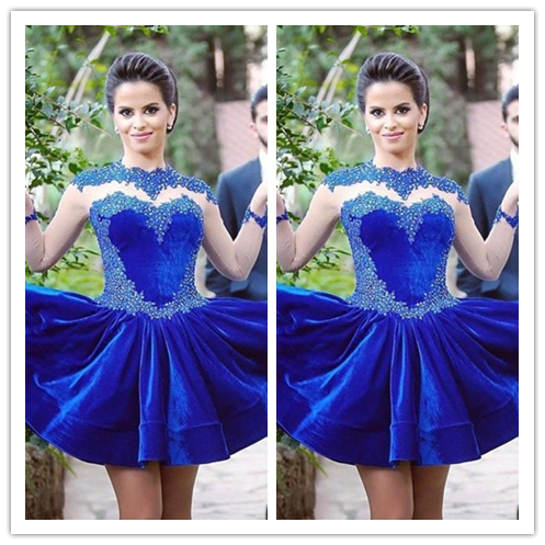 Lace Royal Blue Long Sleeves Homecoming Dress #H075