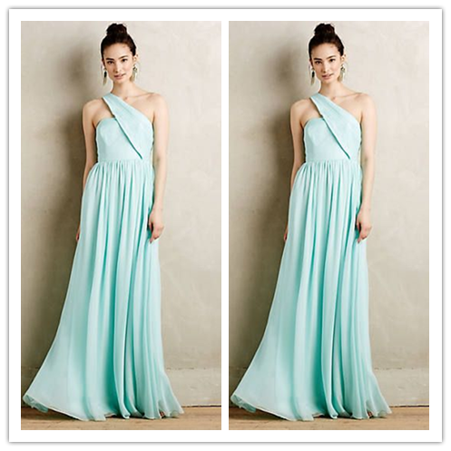 Mint one shoulder chiffon cheap Bridesmaids Dress #B055