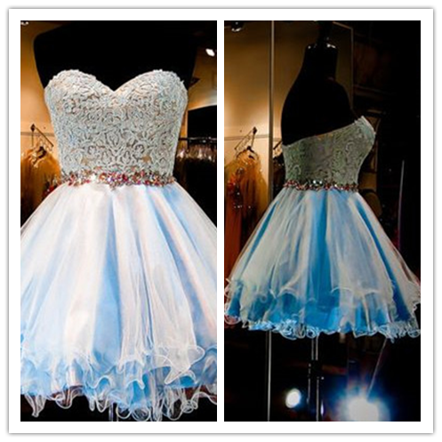 Tulle Lace Blue Fitted Homecoming Dress #H032