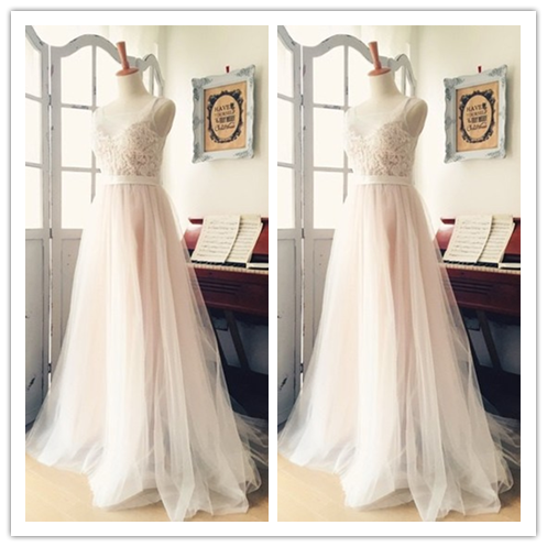A-Line V-Neck Appliques Modest Beach Wedding Dresses #W15