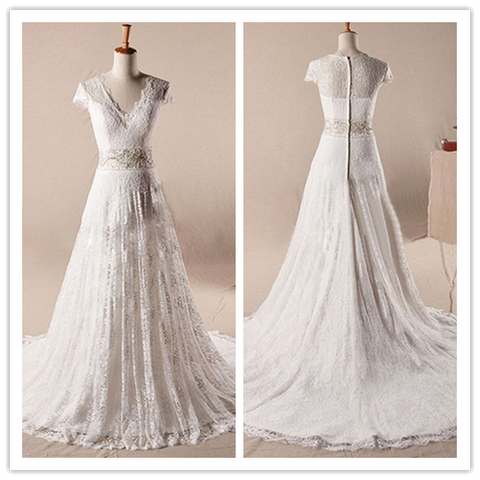 A Line Lace Wedding Dress with Detachable Chiffon Tail #HS0051