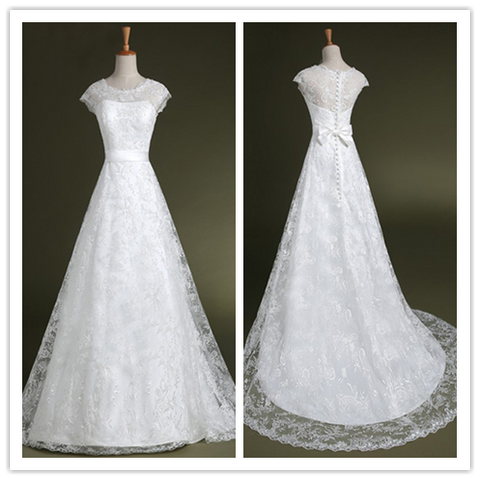 Romantic Lace 2016 Wedding dress With Crew Neckline Cap Sleeve #HS0068