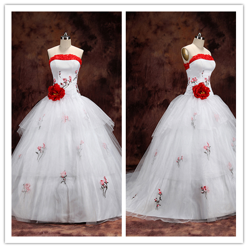 Red Eembroidery White Tiered Ball Gown Bridal Wedding Dress #HS0217