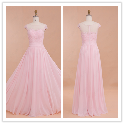 Classy Modest Pink Prom Dresses Bridesmaid Dresses #B025