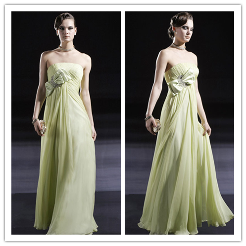 Cap Sleeves Beaded Empire Waist Ruffles Long Formal Maternity Bridesmaid Dresses for Wedding #BN0061