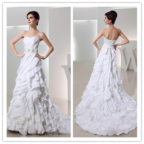 A-line Sweetheart Sweep Brush Train Chiffon 2016 Wedding Dresses #VS028