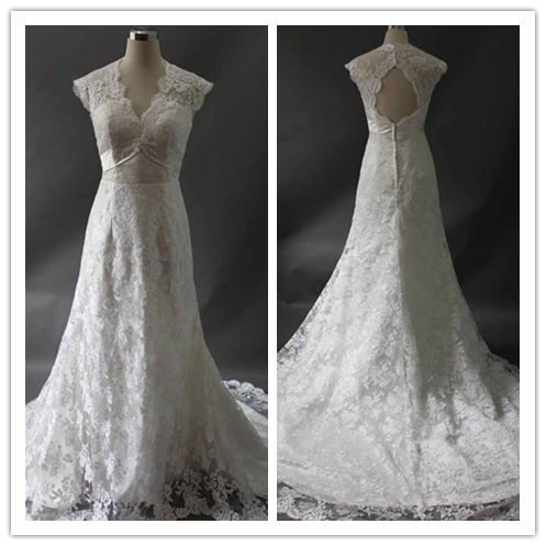 Elegant Scoop Long Sleeves Lace Ivory Mermaid Wedding Dresses With Button #HS0106