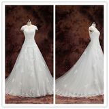 White Lace Wedding Dresses with Sleeves Plus Size Bridal Gowns #HS0218