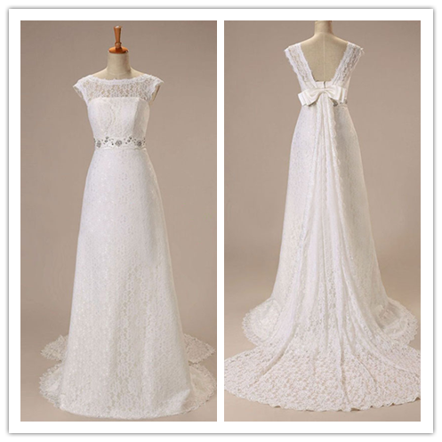 High Neck Lace Bridal Dress Wedding Gowns With Real Photo #HS0063