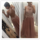 Tulle A-Line Beading Real Made Glamorous Prom Dresses #L52