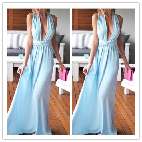 Deep V-Neck Real Made Sexy Prom Dresses #L64