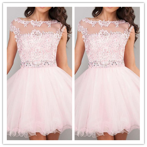 Pink Cute Colorful Homecoming Dresses #H024