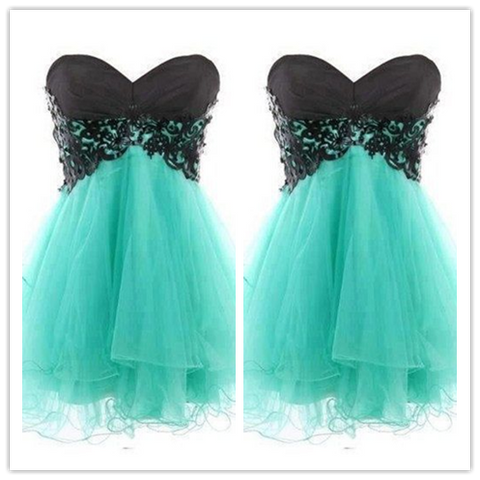 black lace Short Cute Cheap Homecoming Dresses #H077