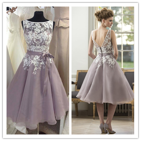 Short Lace and Tulle Celebrity Bridesmaid Dresses #B039