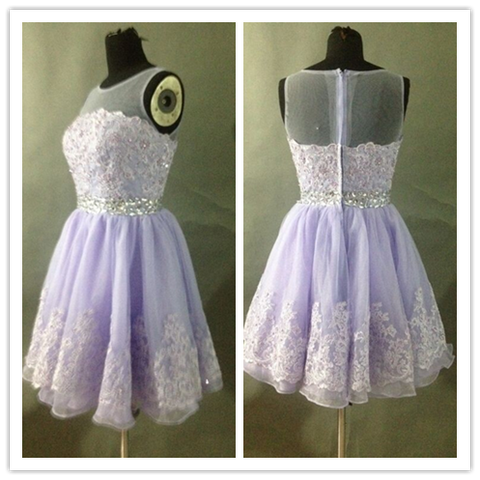 Lavender Lace Short Homecoming Dress #H085