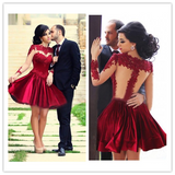 A-line High Neck Appliques Red Cocktail Dresses #H058