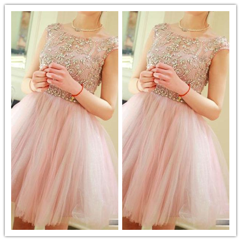 Pink Cute Homecoming Dresses #H036