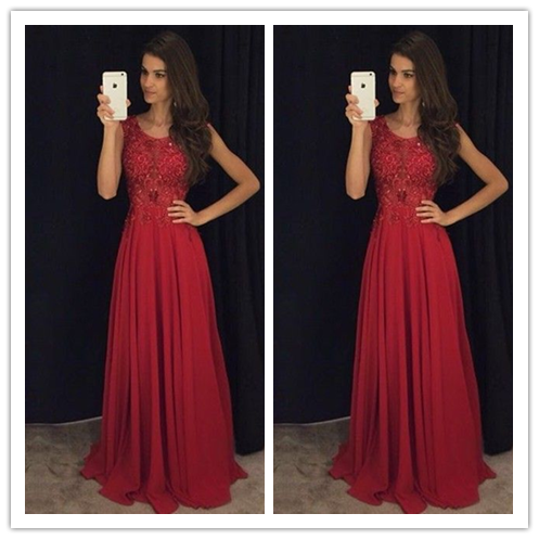 Red Beading Real Made Beading Prom Dresses #S204
