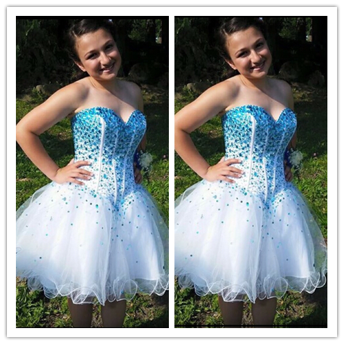 White Blue Beading Homecoming Dresses #H008