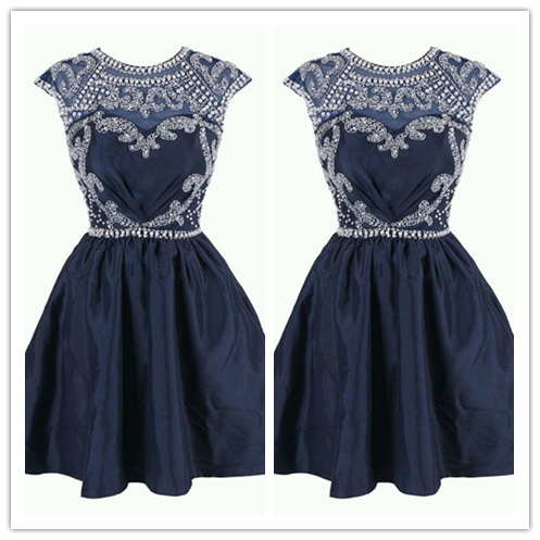 Navy Blue Beaded Sweet Freshman Homecoming Dresses #H034