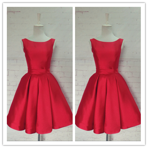 Red Satin Party Sweet 16 Homecoming Dress #H025