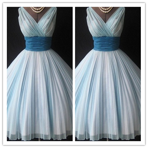 Tulle Blue Fitted Sexy Short Prom Dress #H020