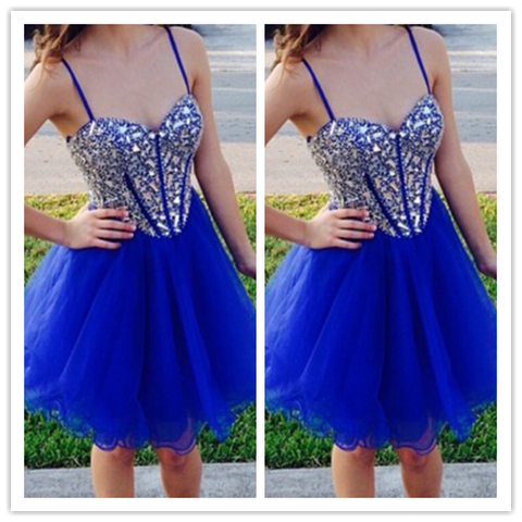 Royal Blue Short Tulle Fitted Beading Prom Dresses #H054