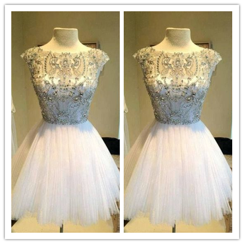 White Short Beaded prom dresses 2016 #H30
