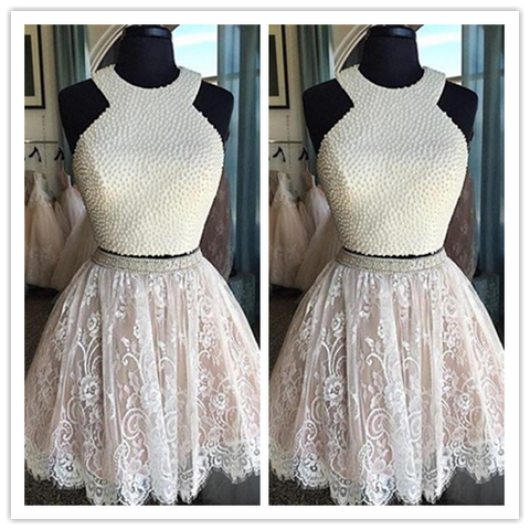 White Lace Tulle Ball Gown Short Prom Dresses #H059