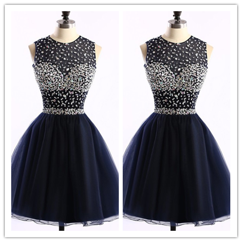 Black Tulle Short Prom Gown #H049