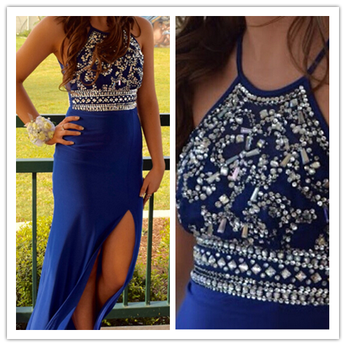 Beading Sheath Real Made Amazing Prom Dresses #L43