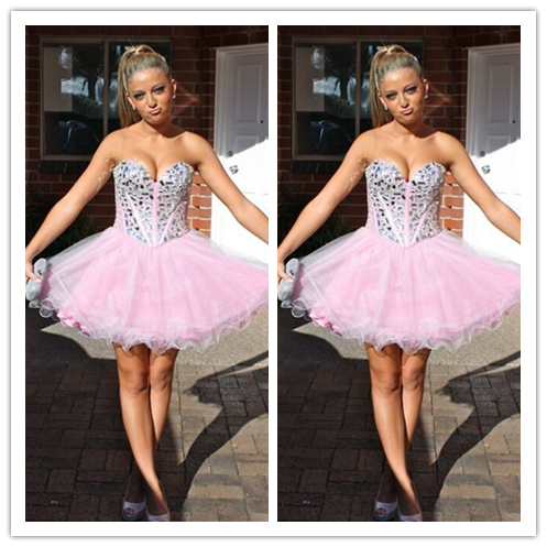 Pink Cute Homecoming Dresses #H051