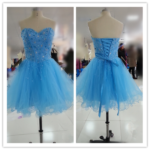 Blue Fitted Silver Beading Prom Dresses #H018