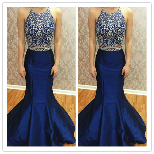 Two Pieces Halter Beading Real Made Prom Dresses 2016 #L31
